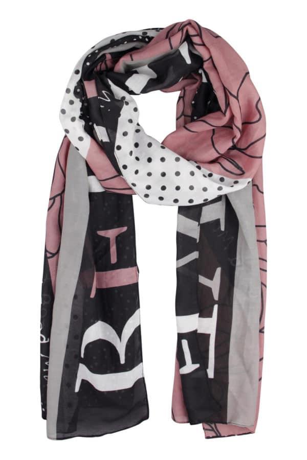 Schal schwarz rosé gemustert Kenny S Mode Sabine Lemke Winnenden