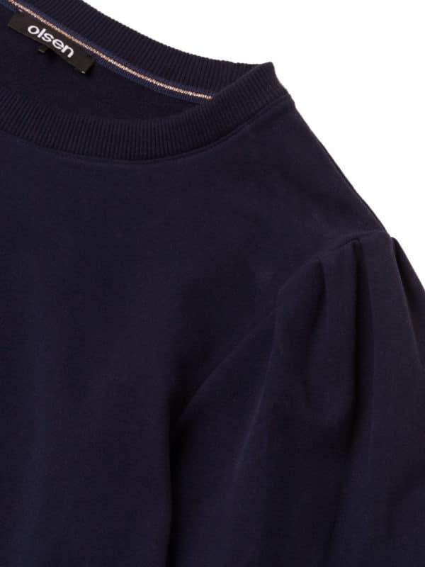 modischer Sweat Pulli Art. 11201337 von Olsen in marine mit Raffung am Arm bei Mode Sabine Lemke in Winnenden