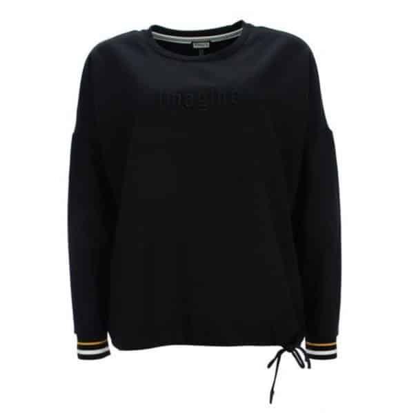 Sweat Pulli von Kenny S Art.955354 in schwarz mit Wording im Frontbereich und gestreiften Armbündchen bei Mode Sabine Lemke in Winnenden und im Onlineshop