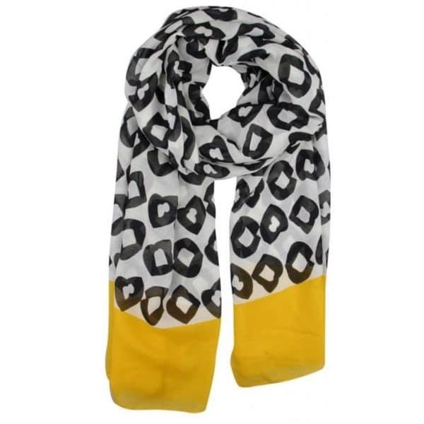 soft fließender Schal mit Punkten von Kenny S Art. 184740 in schwarz-weiß-gelb bei uns im Onlineshop oder im Geschäft in Winnenden shoppen!