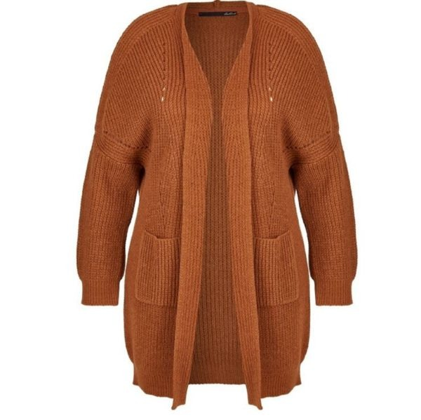 modische Strickjacke für Damen von Lecomte, eine Longstrickjacke in braun Art. 620522 mit aufgesetzten Taschen bei Mode Sabine Lemke in Winnenden und im Onlineshop