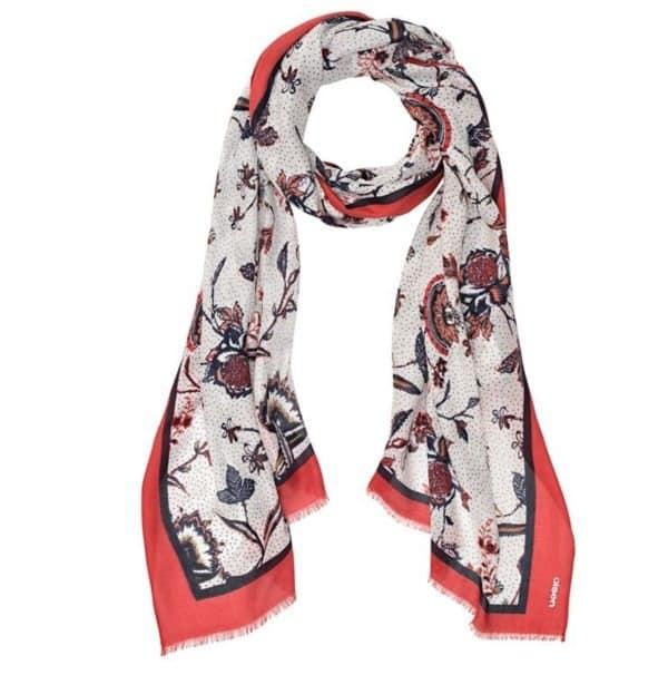 modisch bedruckter Schal mit Blüten und Punktedruck aus reiner Viskose Art. 18001697