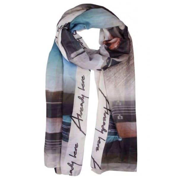 Schal von Kenny S Art.185420 gemusert in beige türkis weiß bei Mode Sabine Lemke in Winnenden einkaufen oder im Onlineshop shoppen